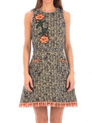 Femme By Michele Rossi Floral Embroidered Tweed Dress-THE BOBBY BOGA