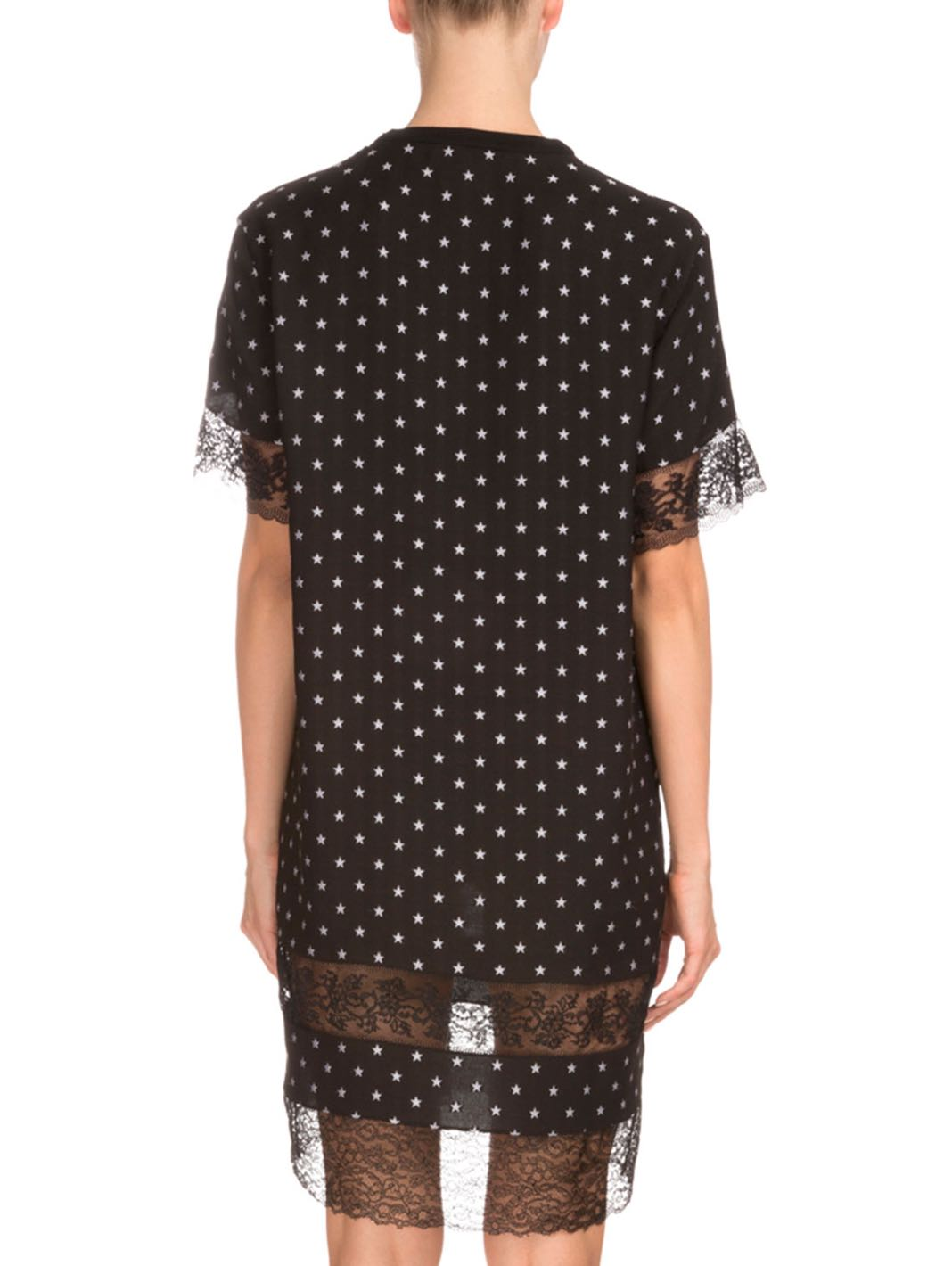 Star Print Lace-Inset Shift Jacquard Dress - The Bobby Boga