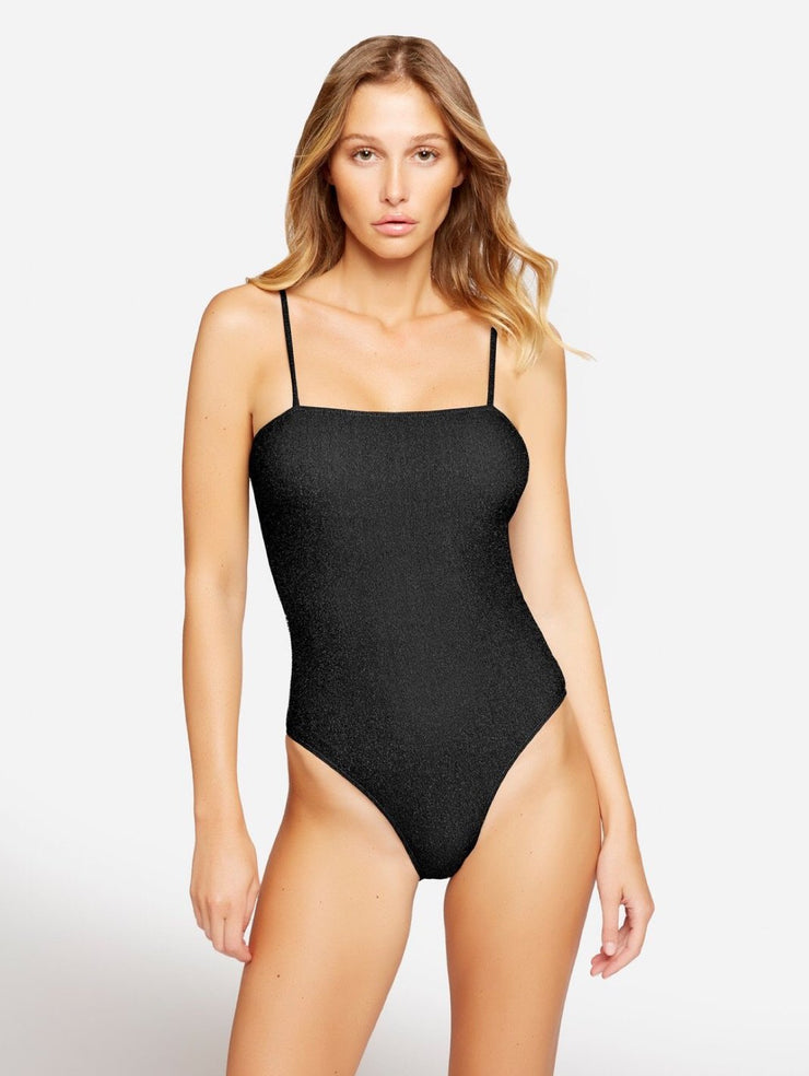 Glimmed One Piece Lurex Swimsuit Black-THE BOBBY BOGA