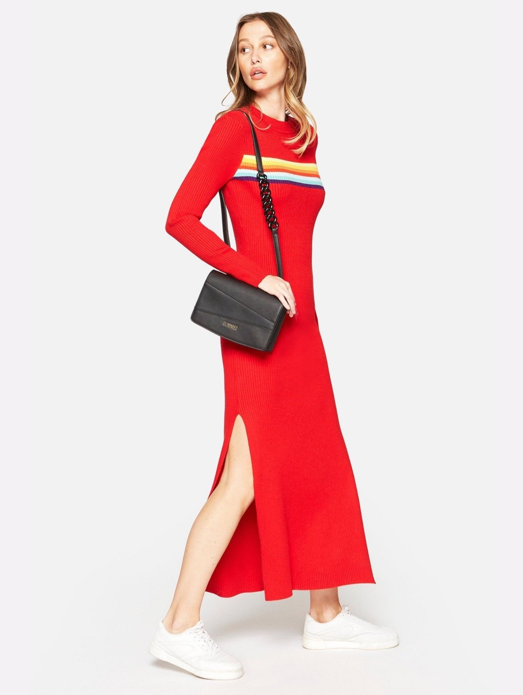 Maglione Rainbow Maxi Red Dress - The Bobby Boga