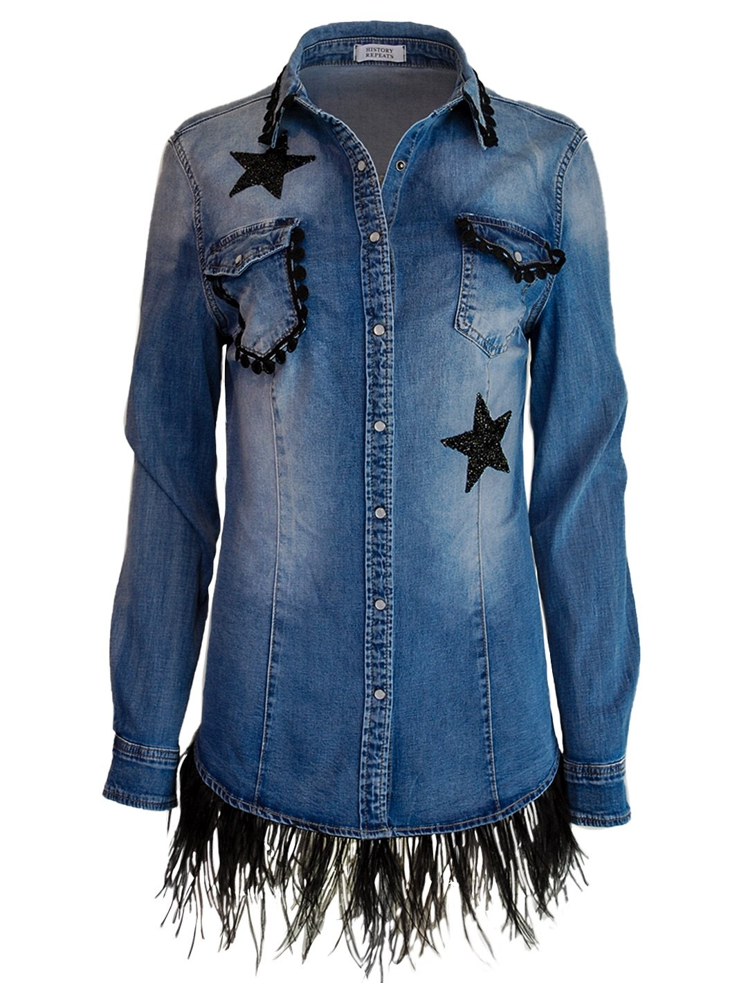 Denim Embroidered Cotton Shirt - The Bobby Boga