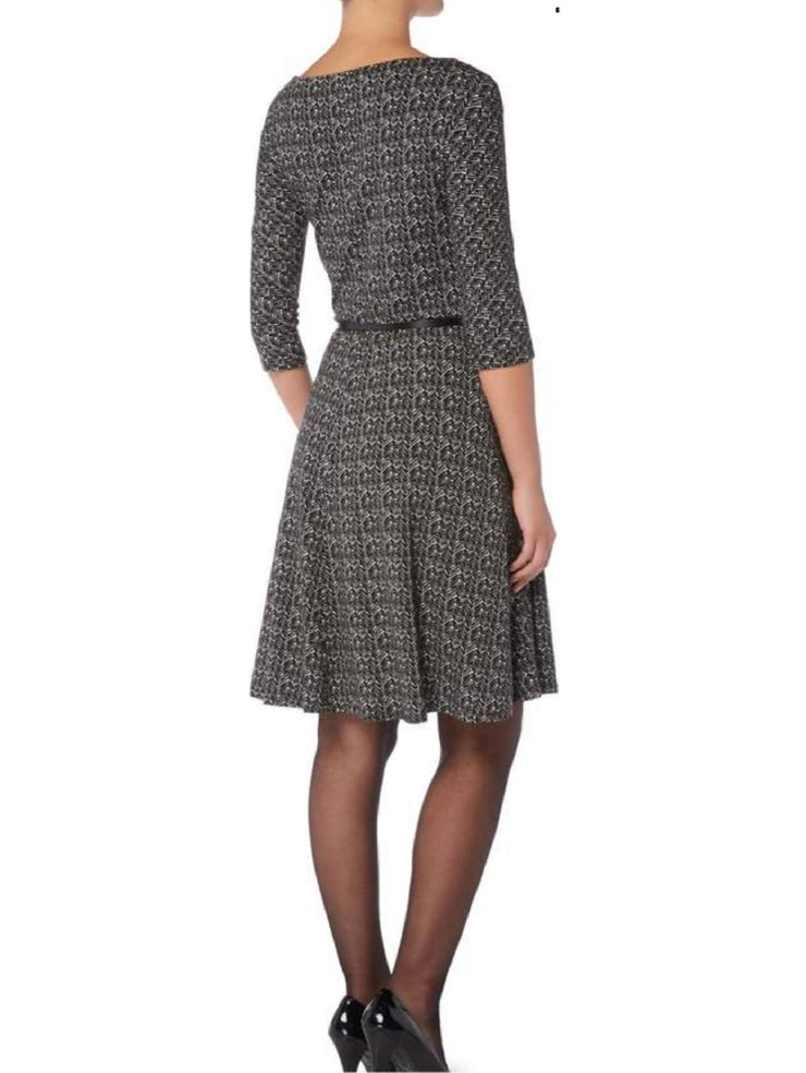 Max Mara Studio Ghiotto Jersey Print Belted Dress