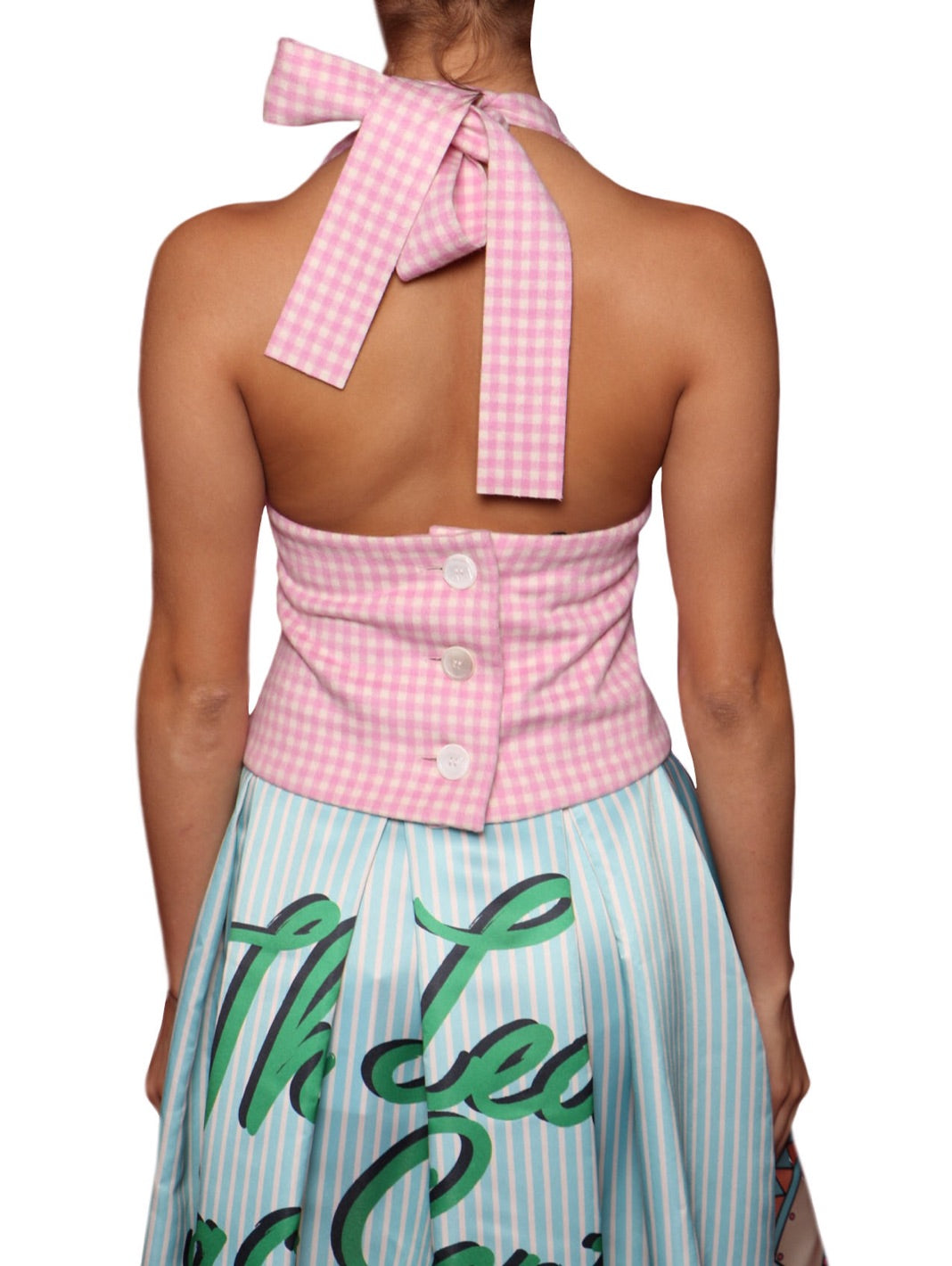 Gingham Check Halter Wool Top - The Bobby Boga