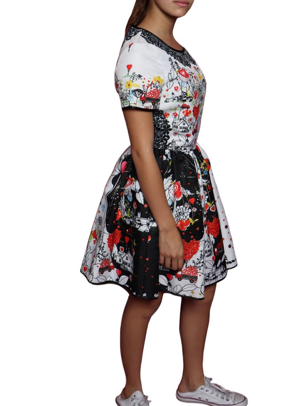 Floral Print Techno Mikado Dress - The Bobby Boga