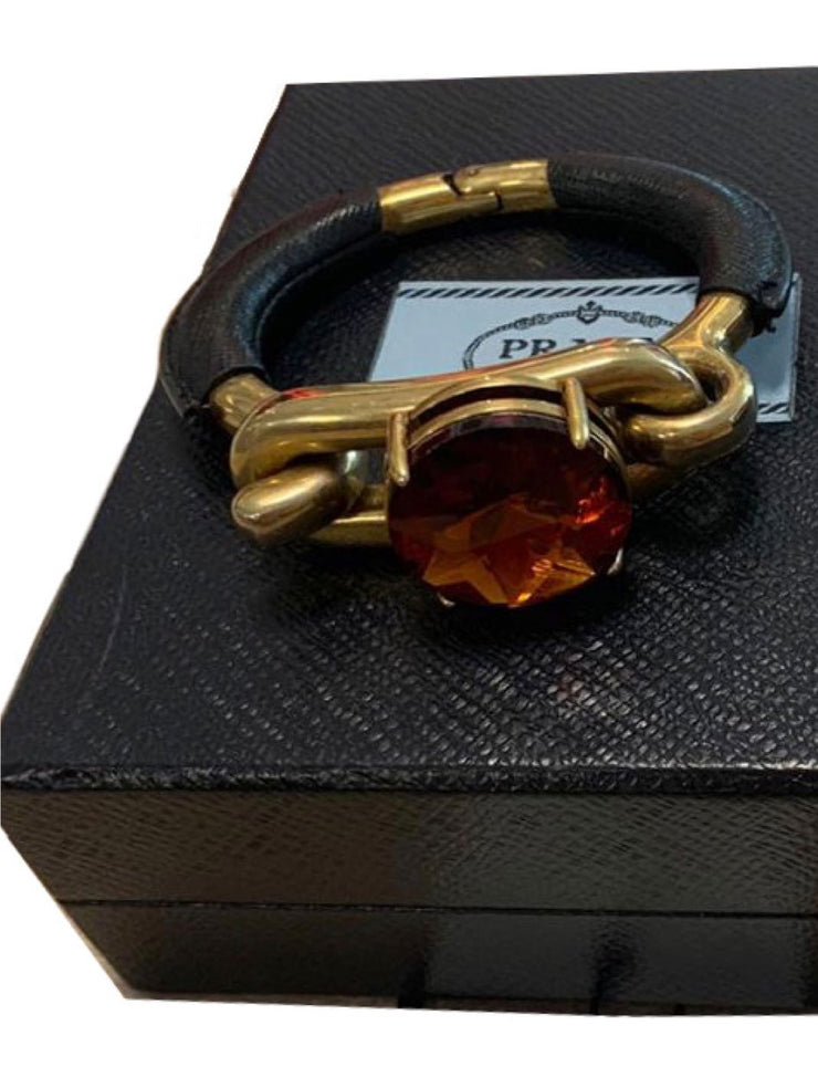 Prada Brass Crystal-Leather Bracelet