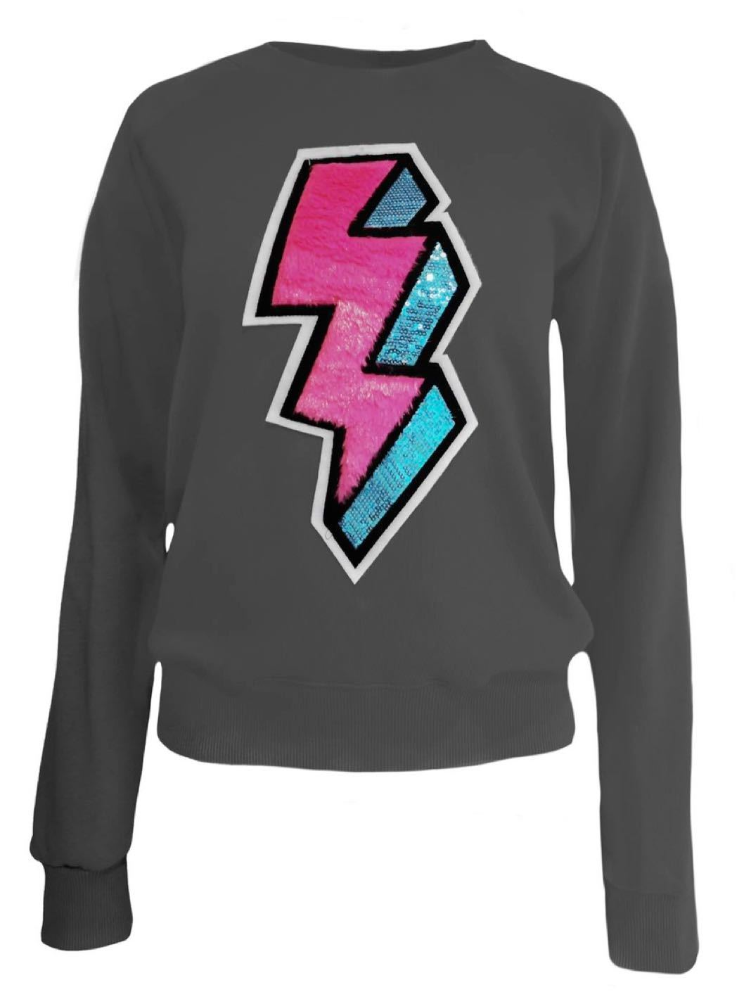 Lightning-Bolt Sequins-Apliqué Cotton Sweatshirt - The Bobby Boga