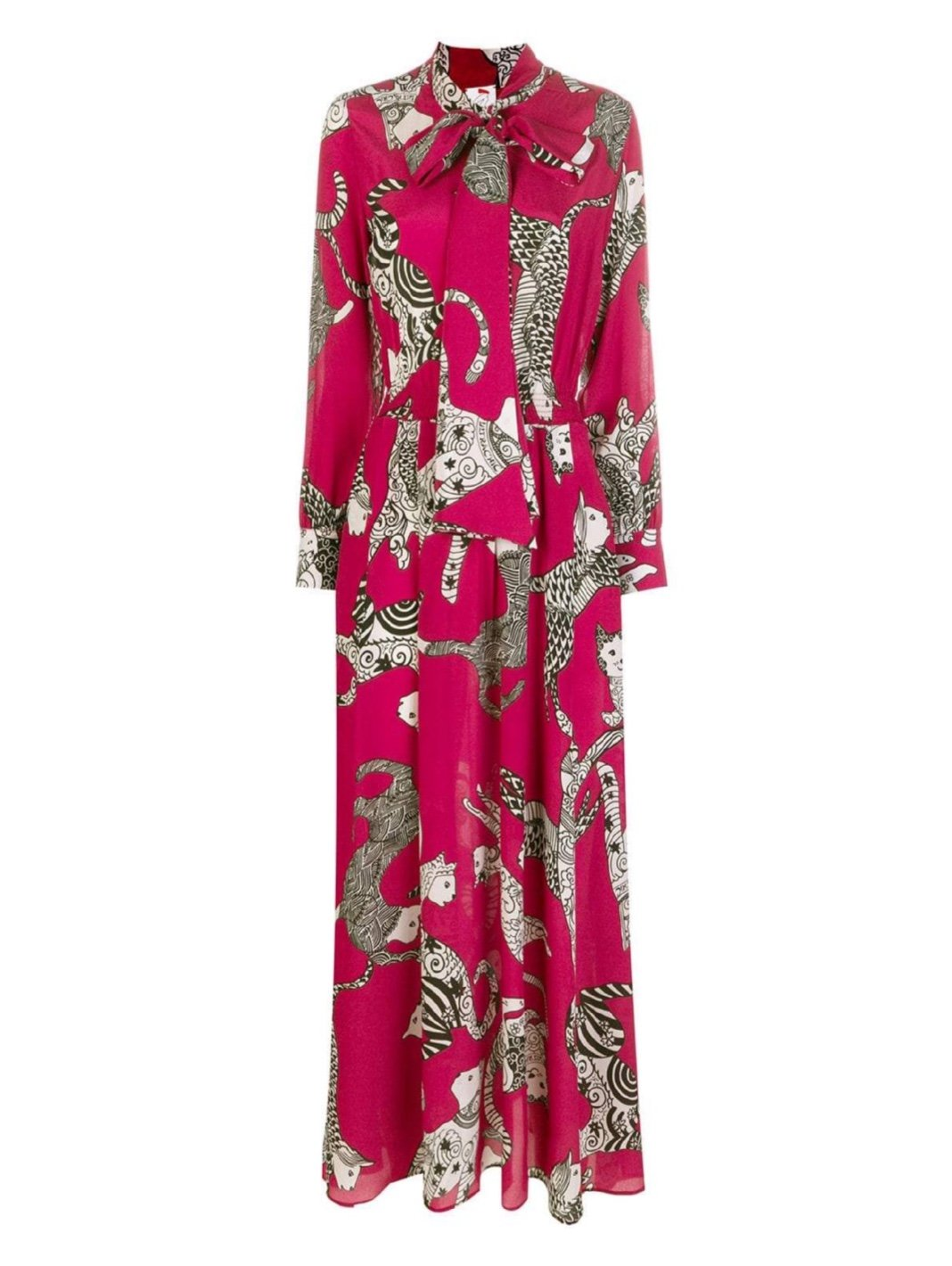 Cats Print Bow Silk Dress - The Bobby Boga