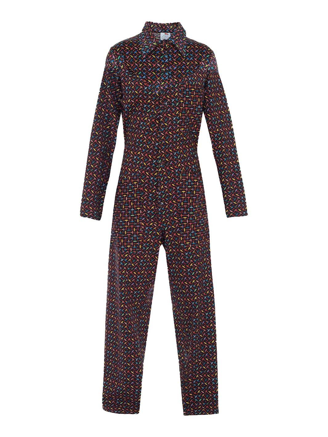 Airplanet Print Wool Jumpsuit - The Bobby Boga