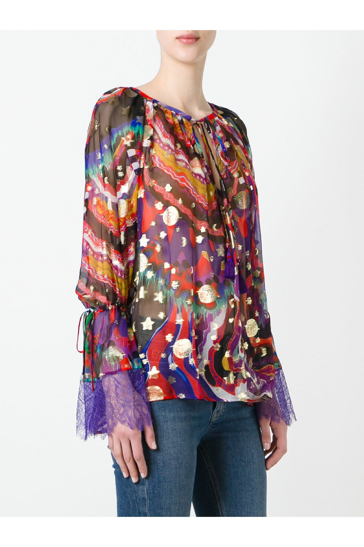 Dreamscape Abstract Print Sheer Blouse