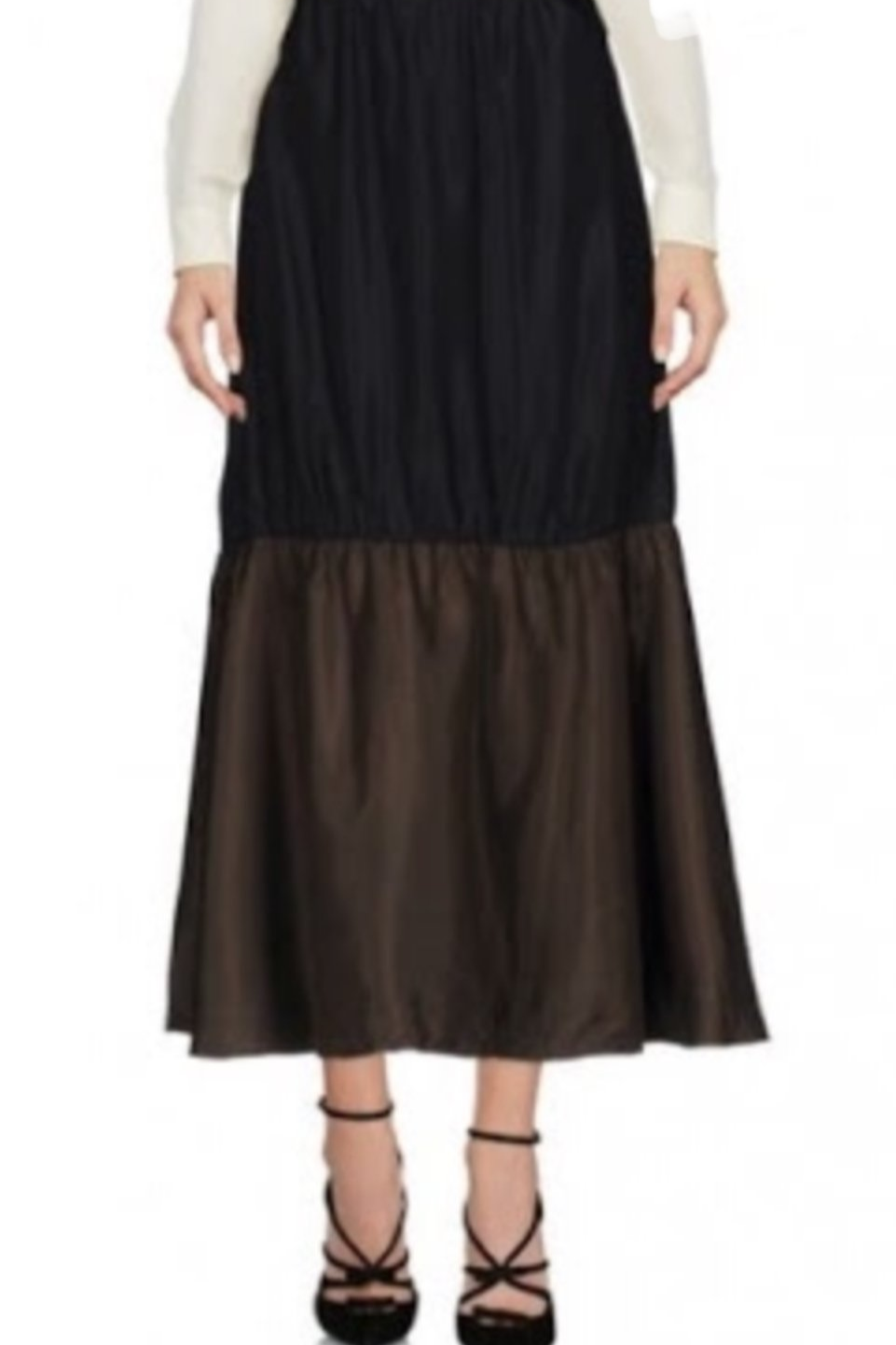 Ruched Silk-Blend Faille And Satin Midi Skirt - The Bobby Boga