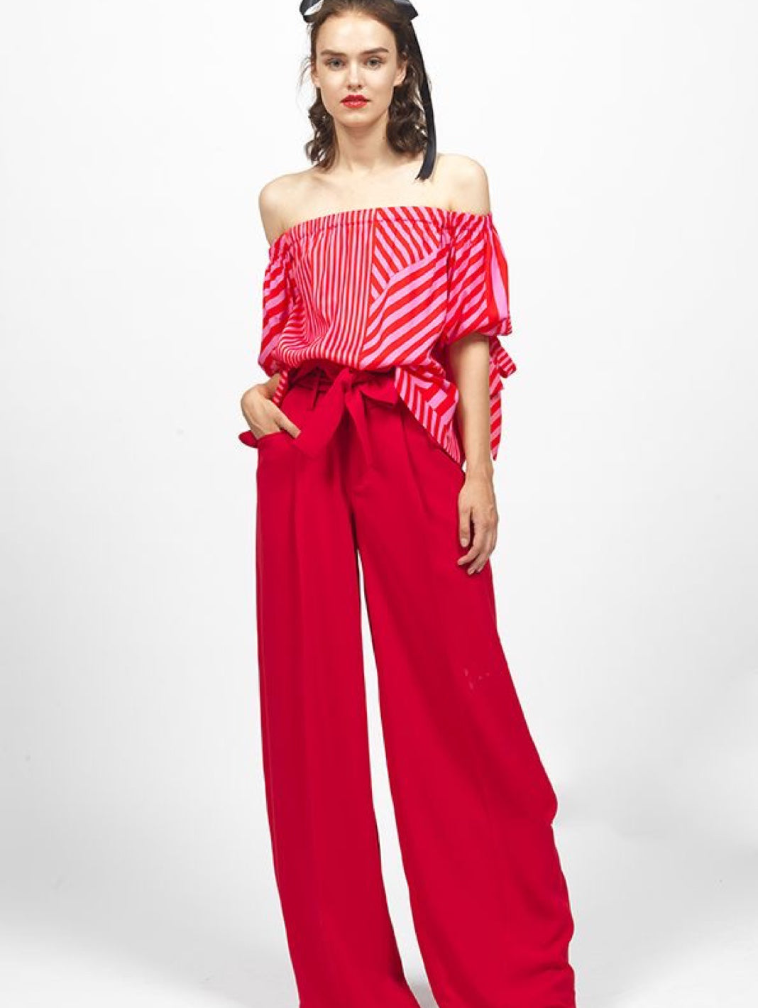 Off-Shoulder Stripes Print Top - The Bobby Boga