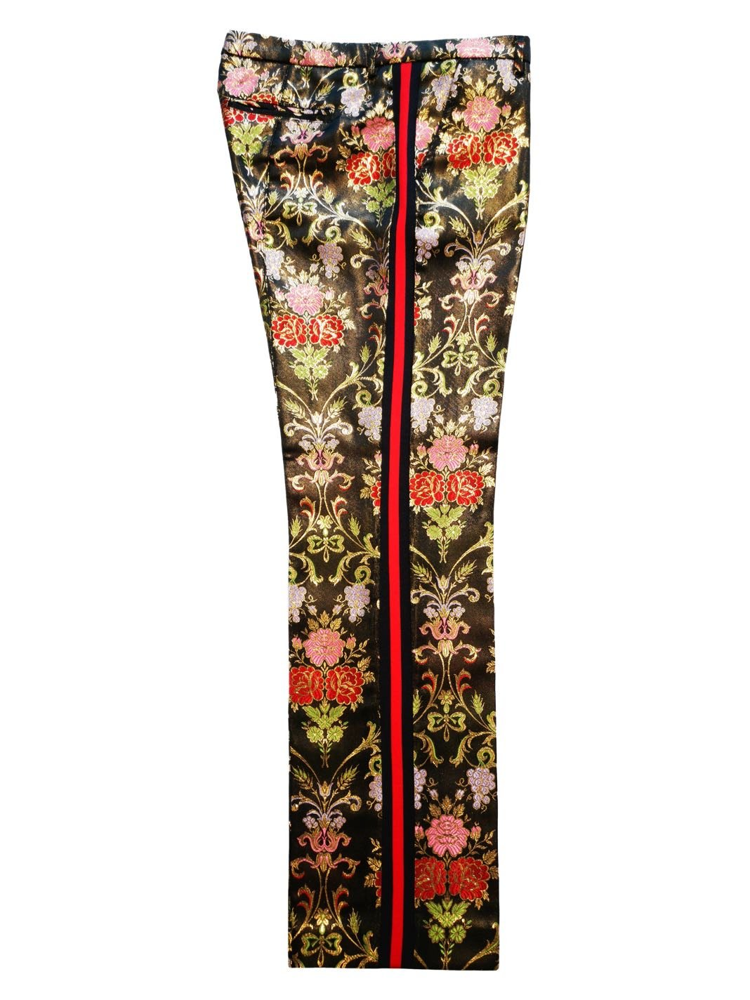 Floral Jacquard Satin Trousers - The Bobby Boga
