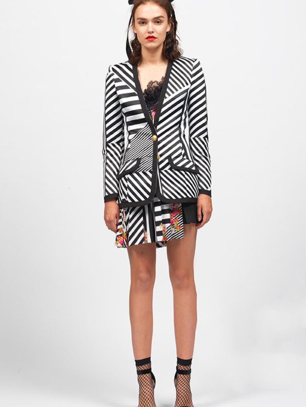 Striped Print Mini Skirt - The Bobby Boga
