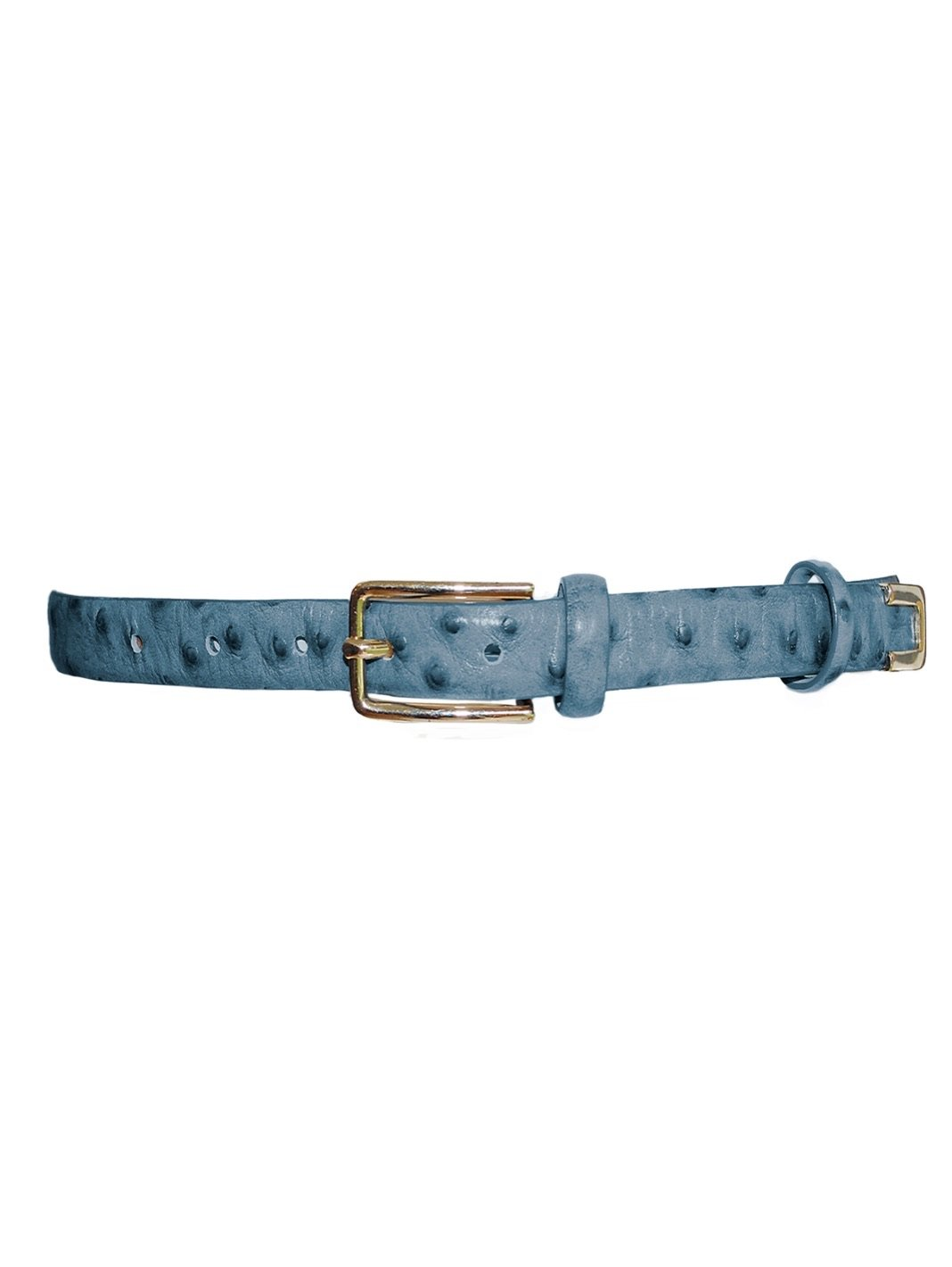 Fretty Ostrich Leather Belt Blue - The Bobby Boga