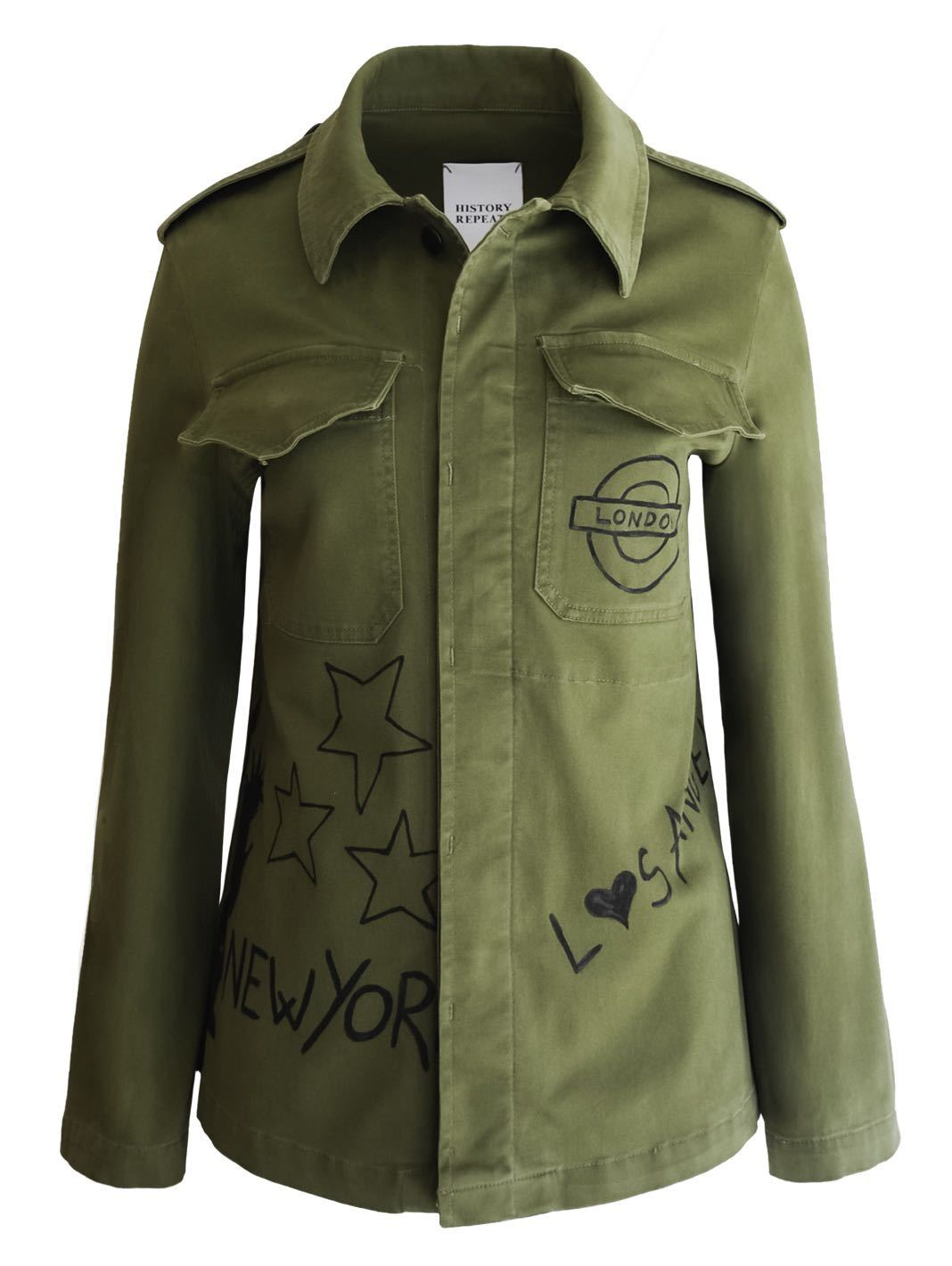 Army Stone-Wash Hand-Painted Jacket - The Bobby Boga