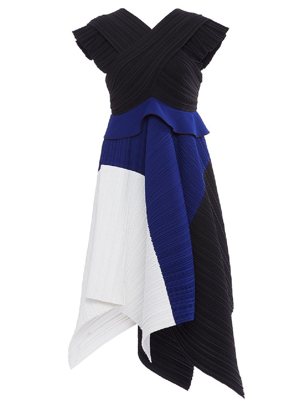 Pleated Crepe Color Blocked Dress - The Bobby Boga