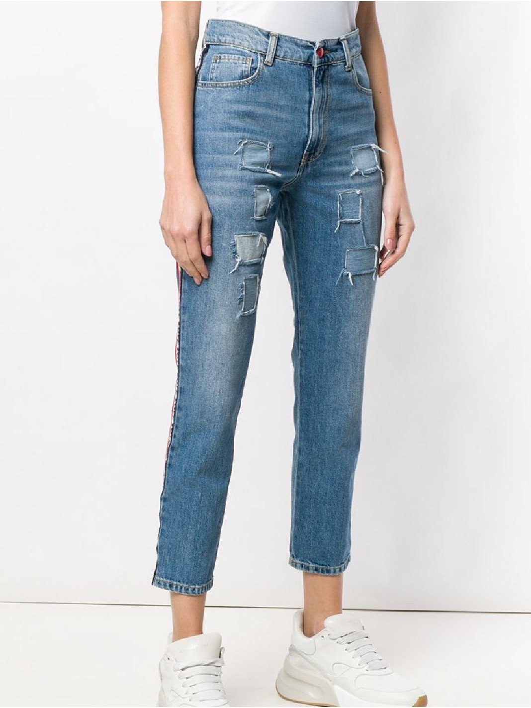 Love Side-Stripe Cropped Jeans - The Bobby Boga