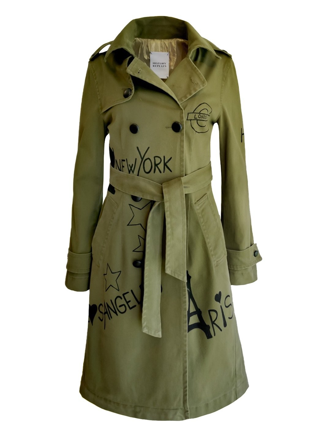 Army Stone-Wash Hand-Painted Trench Coat - The Bobby Boga