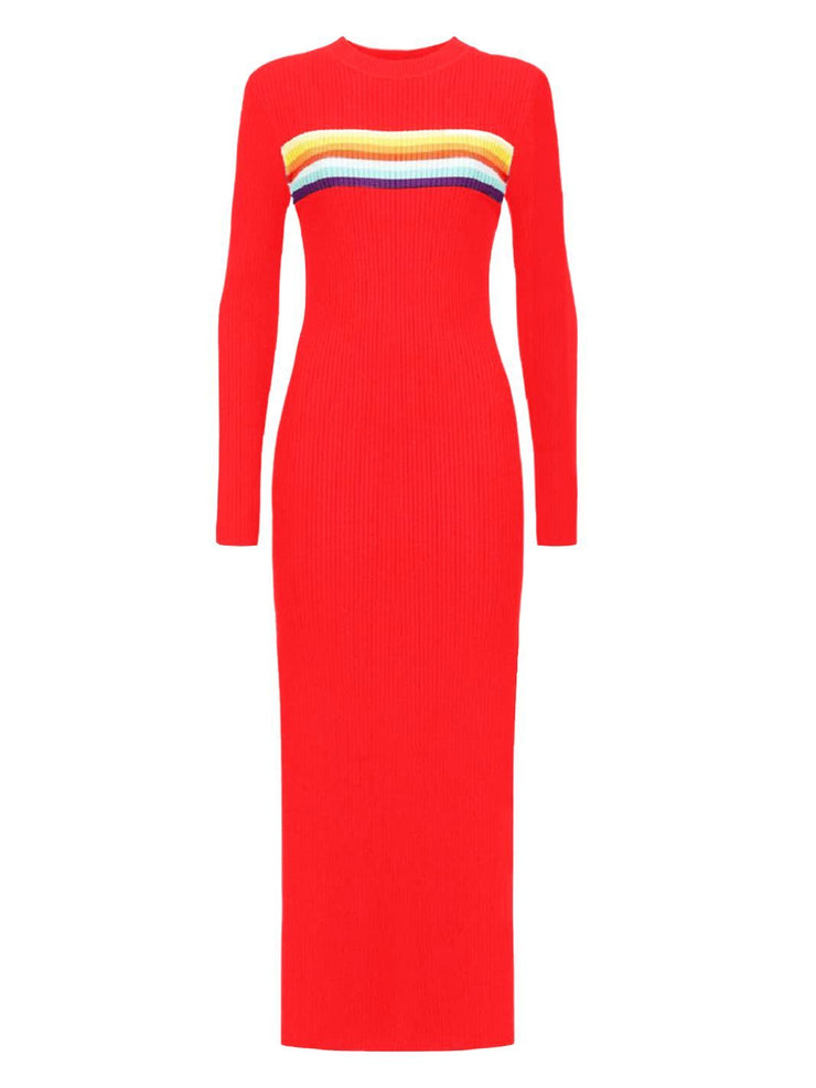 Glimmed Maglione Rainbow Maxi Dress-Red-THE BOBBY BOGA