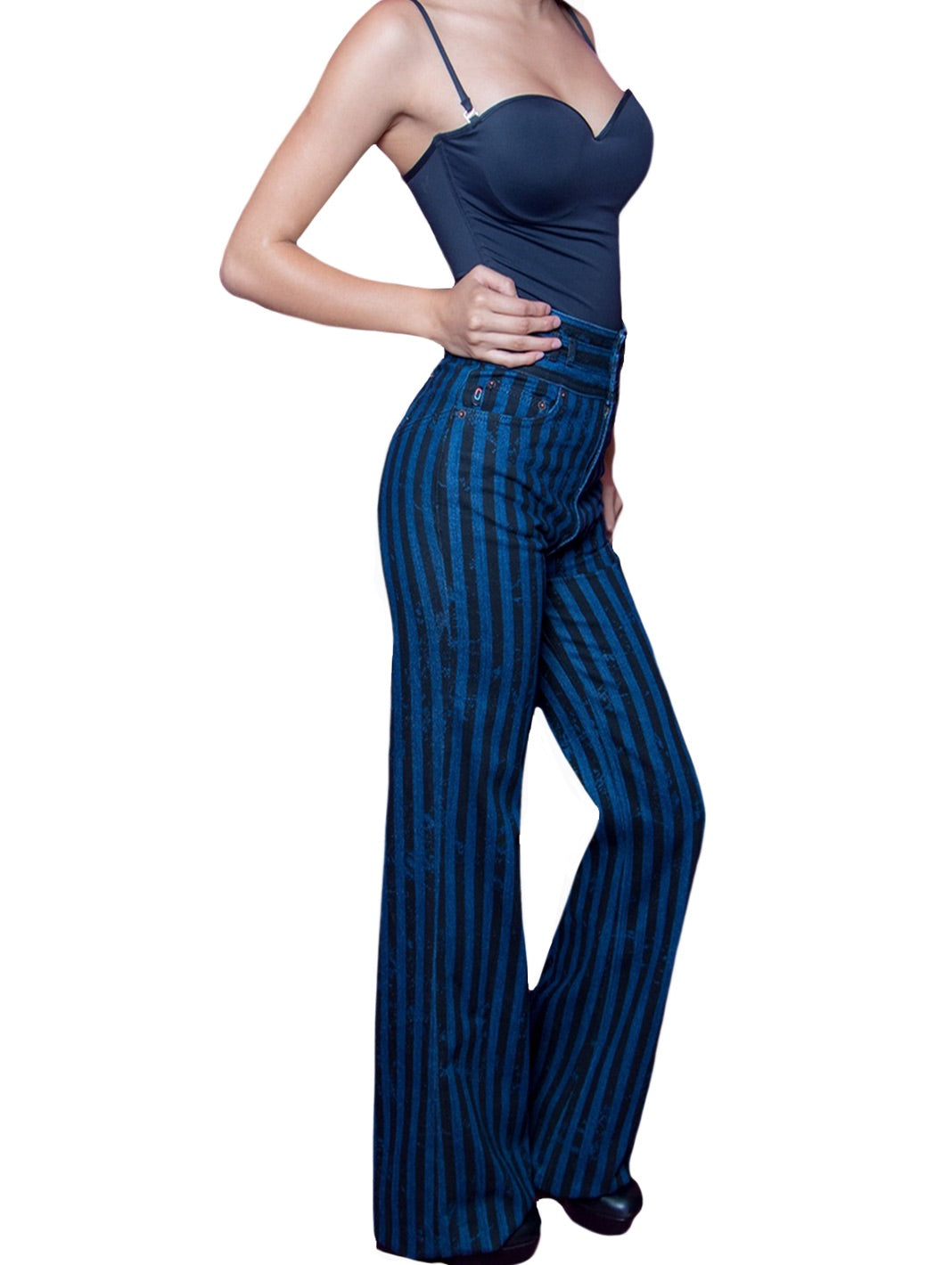 Wide Leg Star Striped Trousers - The Bobby Boga