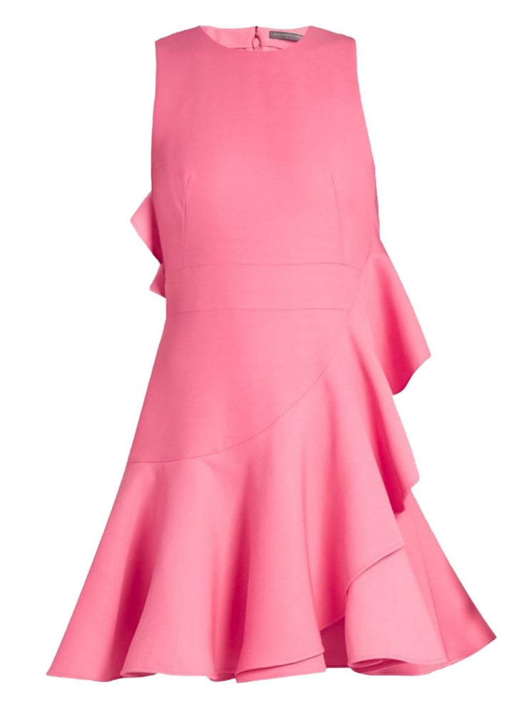 Alexander McQueen Asymmetric Fluted Silk-Blend Dress-THE BOBBY BOGA