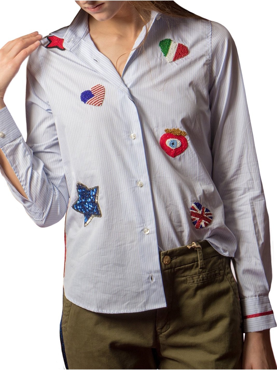 Striped Embroidered Shirt - The Bobby Boga