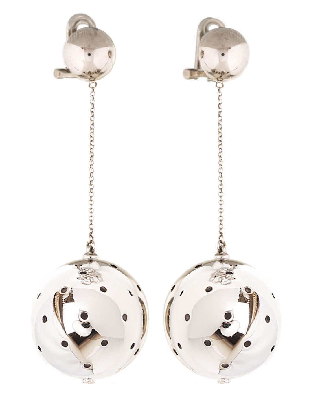 Ball Drop Polished Silver Clip-On Earrings - The Bobby Boga