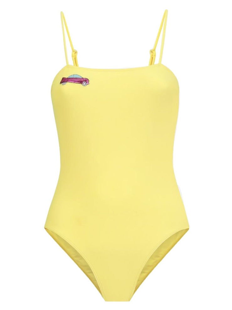 Glimmed Embroidered Sequins Swimsuit Yellow-THE BOBBY BOGA