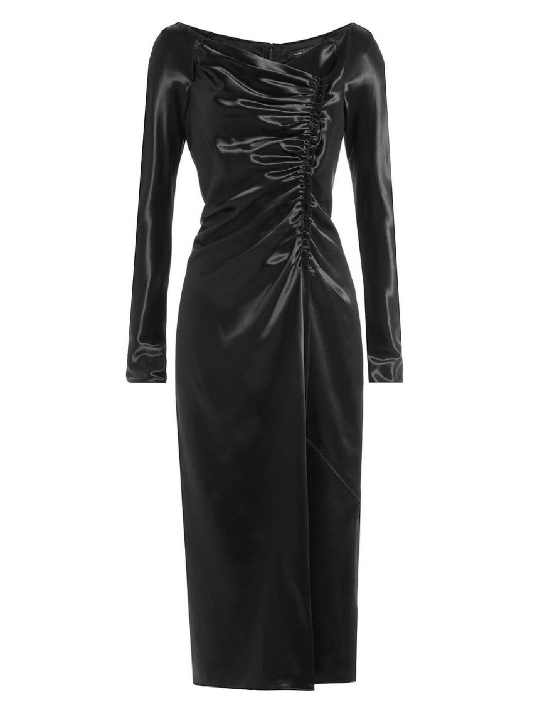 Gathered Satin Midi Dress - The Bobby Boga