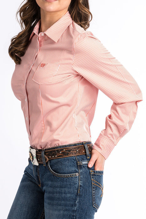 CAMISA CINCH-WOMENS CORAL AND WHITE STRIPE