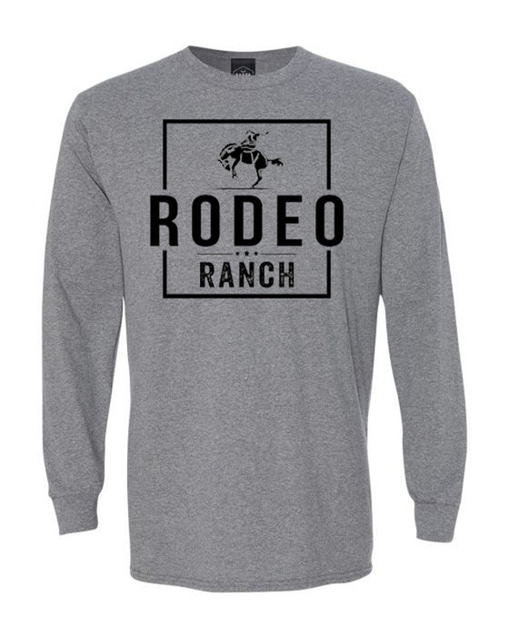 PLAYERA-Rodeo Ranch Bucker Long Sleeve Shirt - Heather Grey