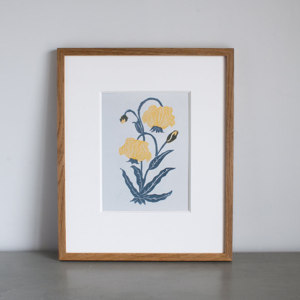 Yellow Orchid Lino Print