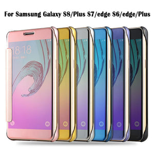 Samsung Galaxy Case Clear View Flip Slim PC Electroplating Mirror Phone Cases