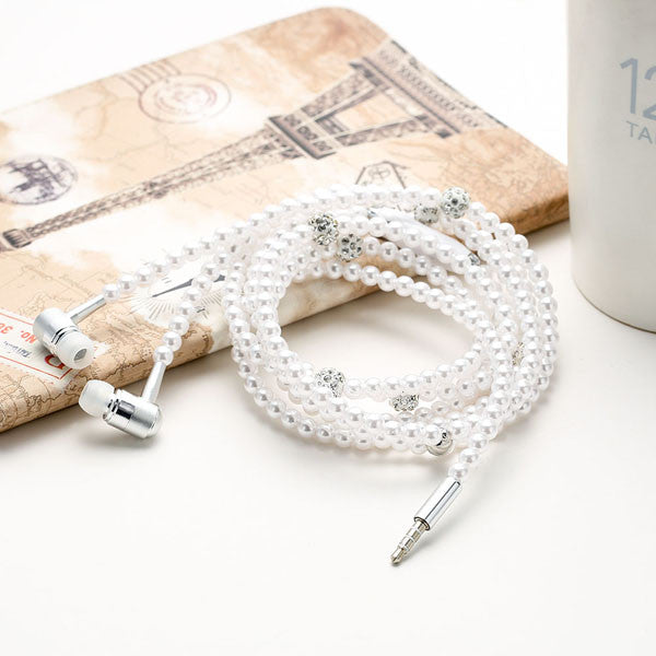 Diamond Pearl Necklace Chain Earphone With Mic