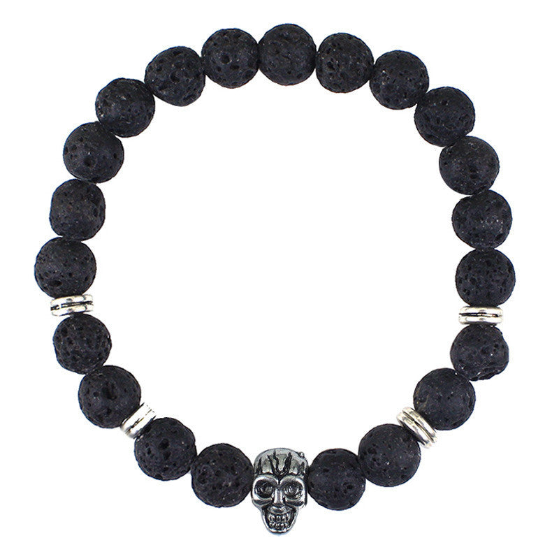 Beaded Bracelet with Stone Skull Head