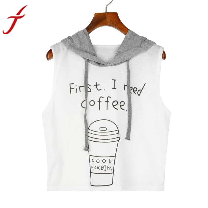 First I Need Coffee Sleeveless Hoodie