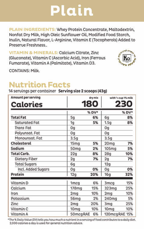 Plain Shake Mix Nutritional Panel