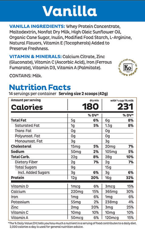 Vanilla Shake Mix Nutritional Panel