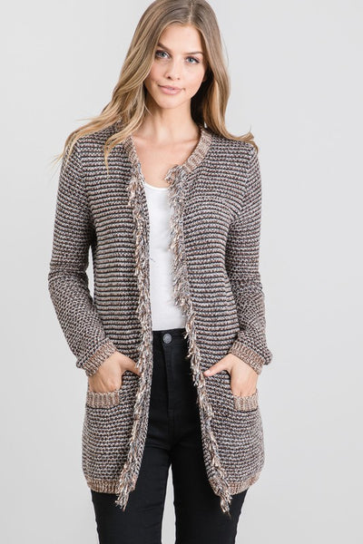 Fringed Cotton Cardigan
