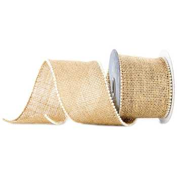 "Ribbon - 2 1/2"" Burlap Ribbon with Pearl Edge"