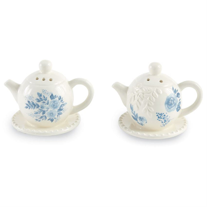 BLUE FLORAL TEAPOT SALT & PEPPER SET