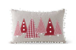 Red Pom Tree Pillow - Grey