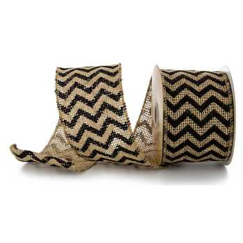 Ribbon - Burlap & Black Chevron Wired Edge Burlap Ribbon - 2 1/2""