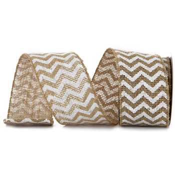 White Chevron Wired Edge Burlap Ribbon - 2 1/2""