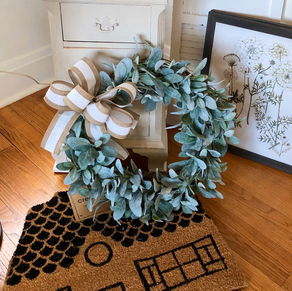 Lambs Ear Wreath, Farm House Wreath, Wreath for Door, Front Door Wreath