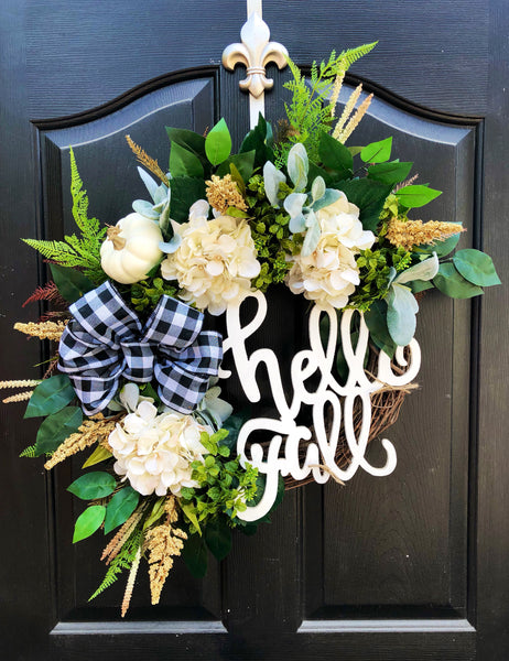 NEW! Fall Wreath, Harvest Wreath, Farm House Wreath, Front Door Wreaths, Spring Door Wreaths, Spring Wreath for Door, Buffalo Check Wreath