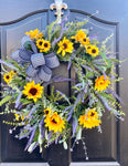 NEW! Farm house wreath, Lavender Wreath, Front Door Summer Wreath, Sunflower Wreath