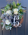 Buffalo Check Farm House Wreath, Monogram Wreath