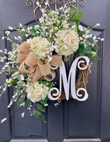 Spring Wreaths for Front Door, Front Door Wreaths, Farm house Christmas Wreath Hydrangea Wreath, Farmhouse wreath
