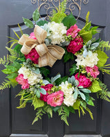 Peony Wreath, Hydrangea Wreath, Front Door Wreaths, Spring Door Wreaths, Spring Wreath for Door, Peony wreaths
